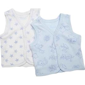 Premom 1076y Hayvanlar Alemi 2li Bebek Yeleği Mavi-beyaz 12-18 Ay (80-86 Cm) Mont, Kaban, Yelek