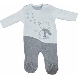 Premom 1016a Yıldıza Bakan Ayıcık Erkek Bebek Patikli Tulum Gri-melanj 6-9 Ay (68-74 Cm) Bebek Tulumu