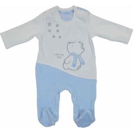 Premom 1016a Yıldıza Bakan Ayıcık Erkek Bebek Patikli Tulum Mavi 0-3 Ay (56-62 Cm) Bebek Tulumu