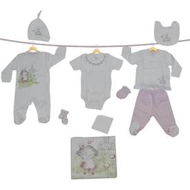 Aziz Bebe 10112 Bebek 10 Lu Hastane Çıkış Seti Ekru 0 Ay (50-56 Cm) Kız Bebek Hastane Çıkışı
