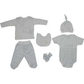 Aziz Bebe 5152 Bebek 6 Lı Hastane Çıkış Seti Ekru 0 Ay (50-56 Cm) Erkek Bebek Hastane Çıkışı