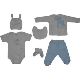 Aziz Bebe 5151 Bebek 6 Lı Hastane Çıkış Seti Ekru 0-3 Ay (56-62 Cm) Erkek Bebek Hastane Çıkışı