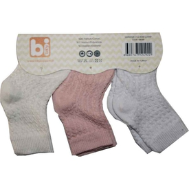 Bibaby 68090 Sarmaşık 3 Lü Çorap Pembe Kız Bebek Çamaşırı