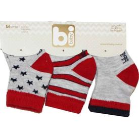 Bibaby 68107 Yıldızlar 3 Lü Çorap Kırmızı Erkek Bebek Çamaşırı