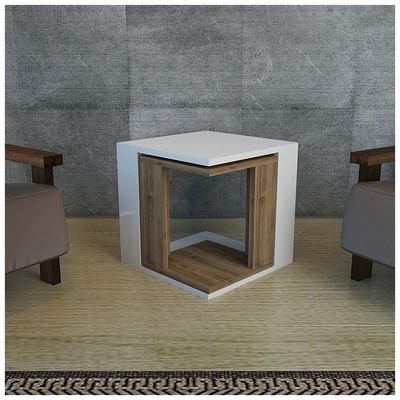Minar Cubic Zigon Sehpa 2Li - Beyaz/İstanbul Mobilya
