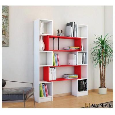 Minar Hope Kitaplık - Beyaz/Kırmızı Mobilya