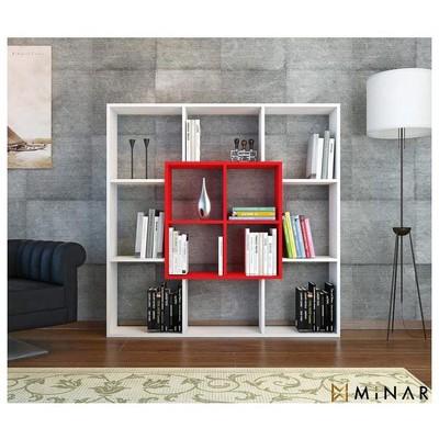 Minar Leef Kitaplık - Beyaz/Kırmızı Mobilya