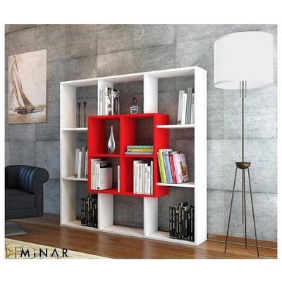 Minar Leef  - Beyaz/Kırmızı Kitaplık