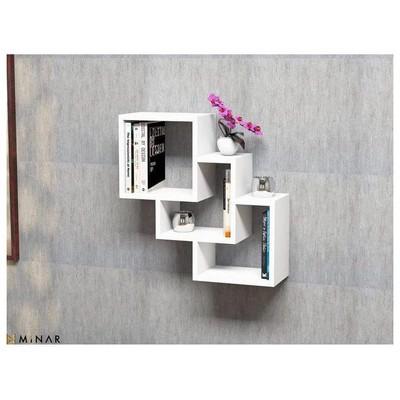 Minar Three Box Duvar Rafı - Beyaz Mobilya