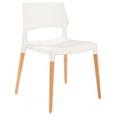 Adore Porta  Masif Ayaklı Plastik Sandalye Beyaz 52x54x80 Cm 4 Adet Tabure