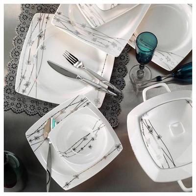 Kütahya Porselen Aliza Bone 83 Parça 25124 Desenli Yemek Takımı