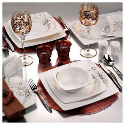Kütahya Porselen Aliza Bone 24 Parça 25105 Desenli Yemek Seti Yemek Takımı