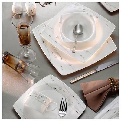 Kütahya Porselen Aliza Bone 24 Parça 25128 Desenli Yemek Seti Tabak