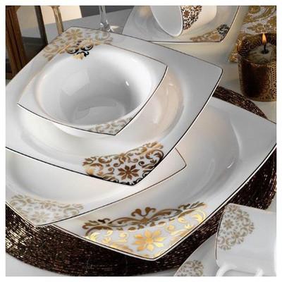 Kütahya Porselen Fileli Kare Bone 83 Parça 60105 Desenli Yemek Takımı
