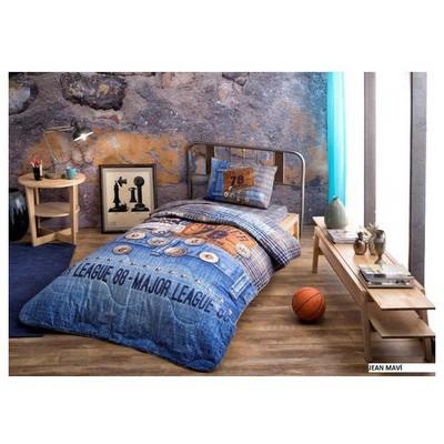 Taç Jeans Yastık Örtüsü Seti - Mavi Yatak Örtüleri