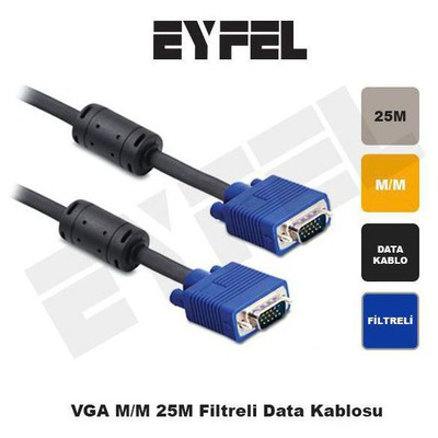 Eyfel Vga125 Vga M/m 25m Filtreli Data Kablosu Adaptör / Dönüştürücü