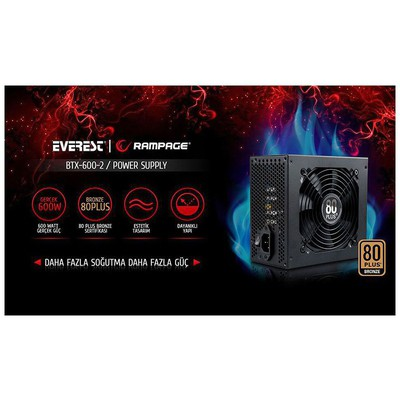 Everest Btx-600-2 600w 80 Plus Bronze Aktif Pfc 12cm Fan Gaming Power Supply Güç Kaynağı
