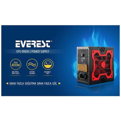 Everest Eps-1900a Peak-400w Extra Soğutu 12cm Kırmızı Fan Gaming Power Supply