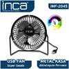 "Inca Imf-204s Inca Imf-204s Masaüstü Metal Fan + Alüminyum Pervane Siyah 4"" USB Aksesuarı"