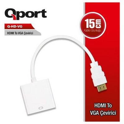 Qport Q-hd-vg Q-hd-vg Hv Hdmı Dan Vga Çevirici Adaptör / Dönüştürücü