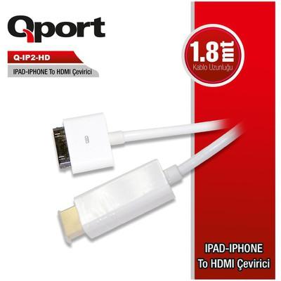Qport Q-ıp2-hd Q-ıp2-hd Ipad Ipone Dan Hdmı 1.8 Metre Çevirici Kablo Çevirici Adaptör