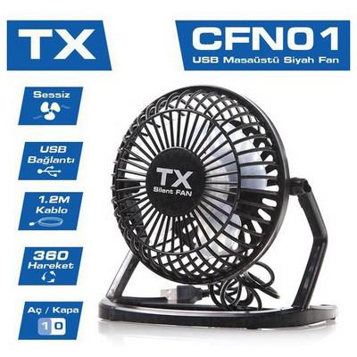 TX Acfn01 Masaüstü Mini Usb Fan 360 Derece Hareketli Siyah USB Aksesuarı