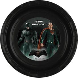 Parti Paketi Batman V Superman Tabak Sticker, 15cm 8'li Parti Tabağı