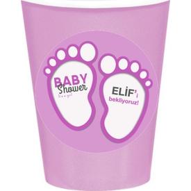 Parti Paketi Pembe Bebek Patileri Bardak Sticker, 8cm 8'li Parti Bardağı