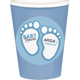 Parti Paketi Mavi Bebek Patileri Bardak Sticker, 8cm 8'li Parti Bardağı