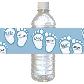 Parti Paketi Mavi Bebek Patileri Su Şişesi Etiketi, 21cm 16'lı Parti Bardağı