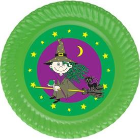 Parti Paketi Tatlı Cadı Tabak Sticker, 15cm 8'li Parti Tabağı