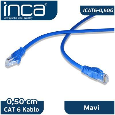 Inca Icat6-050 Cat6 0,50cm Mavi Patch Kablo USB Kablolar