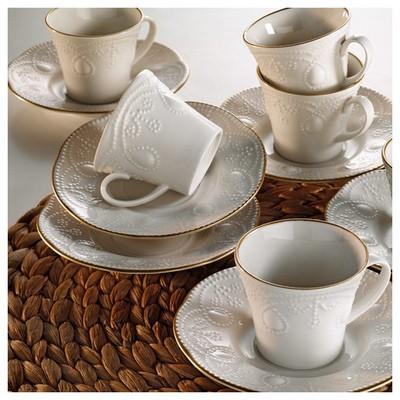 Kütahya Porselen Fulya Krem 6 Kişilik Kahve Fincan Takımı Çay Seti