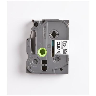 Brother P-touch Tze-121 Tze-tape 9mm Şeffaf Üzerine Siyah Laminasyonlu Etiket