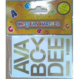 Parti Paketi Harf Çıkartma Set 4cm Altın Hediye Etiketi