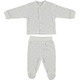Bebetto F865 Taç Penye Mini Bebek Pijama Takımı Gri 0-3 Ay (56-62 Cm) Erkek Bebek Pijaması