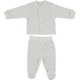 Bebetto F865 Taç Penye Mini Bebek Pijama Takımı Gri 3-6 Ay (62-68 Cm) Erkek Bebek Pijaması