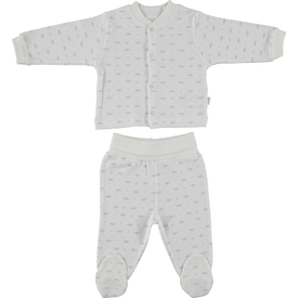 Bebetto F865 Taç Penye Mini Bebek Pijama Takımı Mavi 6-9 Ay (68-74 Cm) Erkek Bebek Pijaması