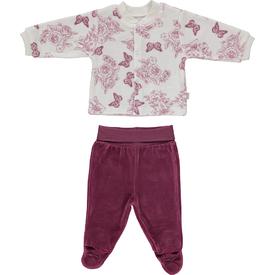 Bebetto F867 Zambak Kadife Mini Bebek Pijama Takımı Gül Kurusu 0-3 Ay (56-62 Cm) Kız Bebek Pijaması