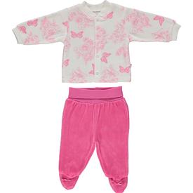 Bebetto F867 Zambak Kadife Mini Bebek Pijama Takımı Koyu Pembe 3-6 Ay (62-68 Cm) Kız Bebek Pijaması