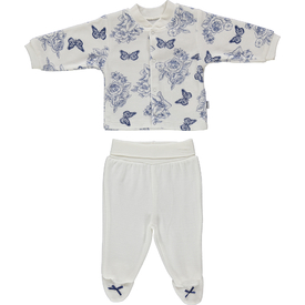 Bebetto F867 Zambak Kadife Mini Bebek Pijama Takımı Lacivert 3-6 Ay (62-68 Cm) Kız Bebek Pijaması