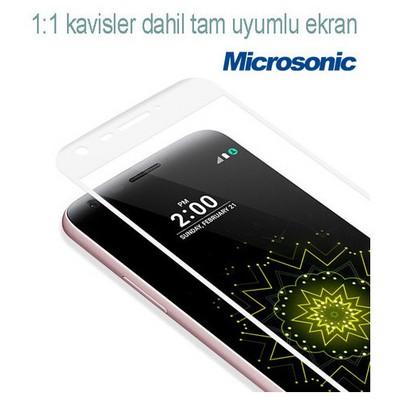 Microsonic Lg G5 Kavisli Temperli Cam Ekran Koruyucu Kırılmaz Film Beyaz Ekran Koruyucu Film