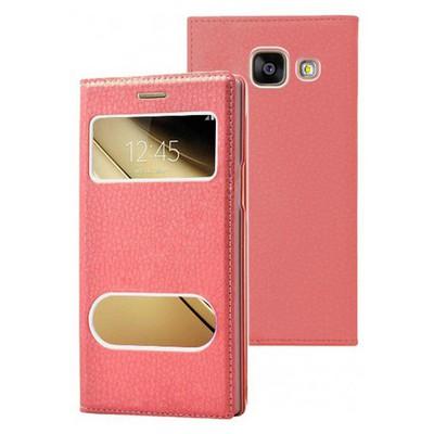Microsonic Samsung Galaxy C7 Kılıf Dual View Gizli Mıknatıslı Kırmızı Cep Telefonu Kılıfı