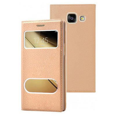 Microsonic Samsung Galaxy C7 Kılıf Dual View Gizli Mıknatıslı Gold Cep Telefonu Kılıfı