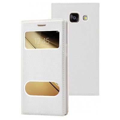 Microsonic Samsung Galaxy C7 Kılıf Dual View Gizli Mıknatıslı Beyaz Cep Telefonu Kılıfı