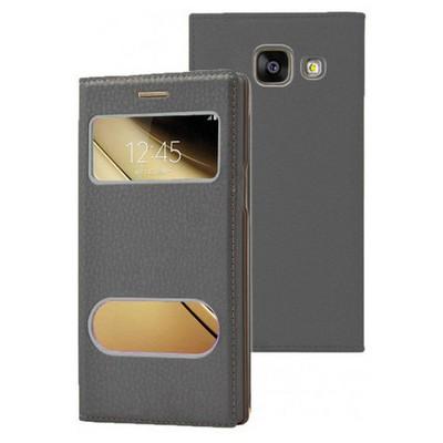 Microsonic Samsung Galaxy C7 Kılıf Dual View Gizli Mıknatıslı Siyah Cep Telefonu Kılıfı