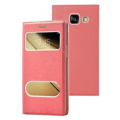 Microsonic Samsung Galaxy C5 Kılıf Dual View Gizli Mıknatıslı Kırmızı Cep Telefonu Kılıfı
