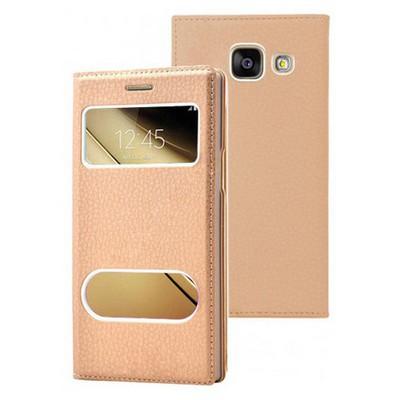 Microsonic Samsung Galaxy C5 Kılıf Dual View Gizli Mıknatıslı Gold Cep Telefonu Kılıfı