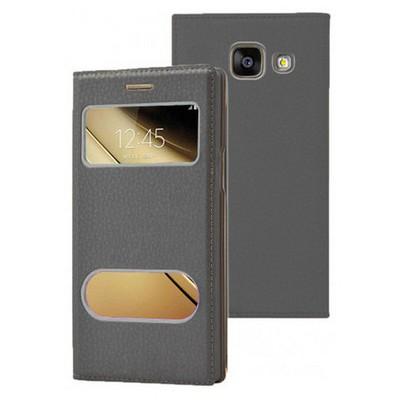 Microsonic Samsung Galaxy C5 Kılıf Dual View Gizli Mıknatıslı Siyah Cep Telefonu Kılıfı