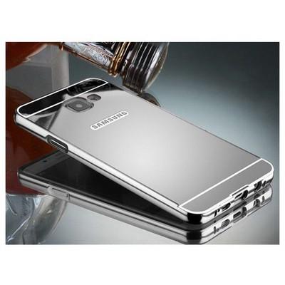 Microsonic Samsung Galaxy C7 Kılıf Luxury Mirror Gümüş Cep Telefonu Kılıfı